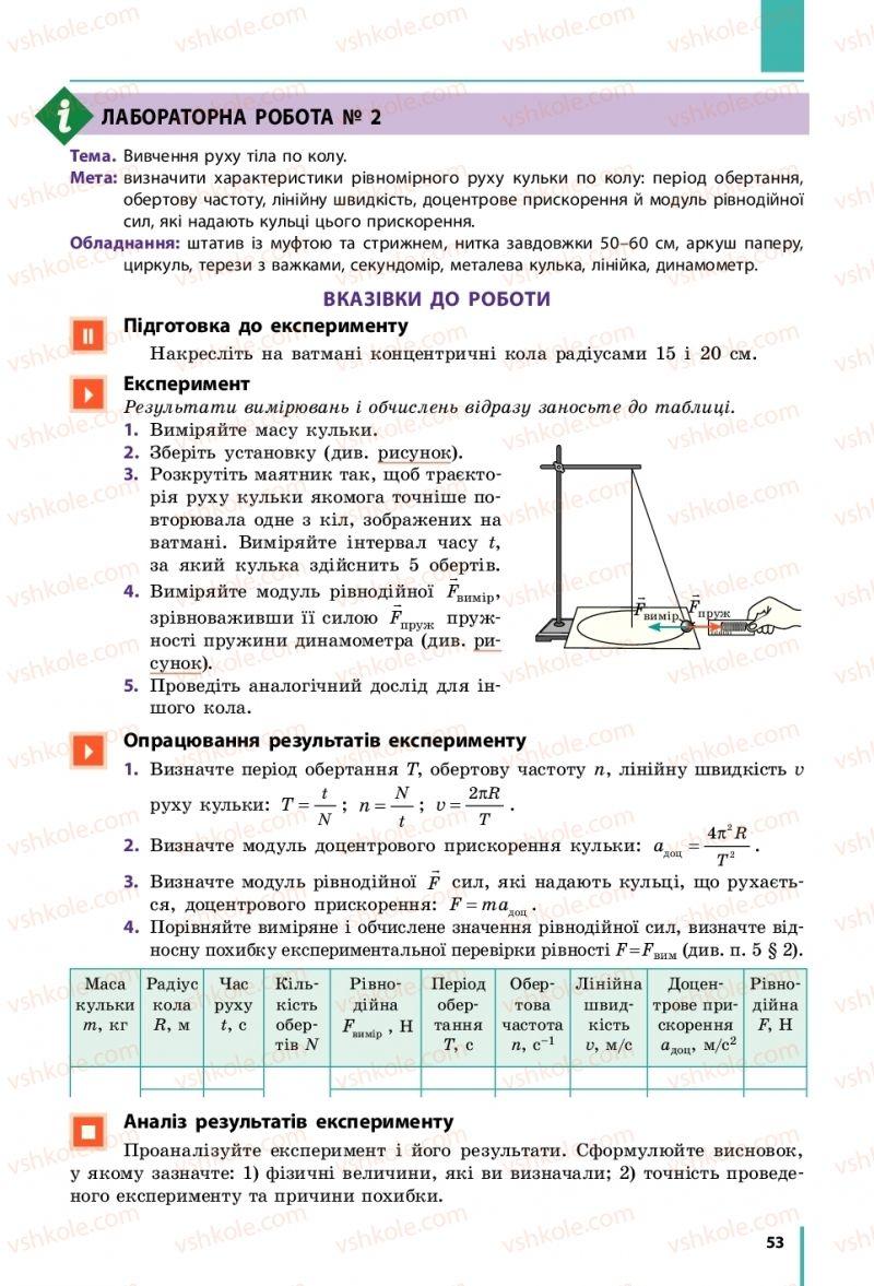 Страница 53 | Учебник Фізика 10 класс В. Г. Бар'яхтар, С. О. Довгий, Ф. Я. Божинова 2018 Рівень стандарту