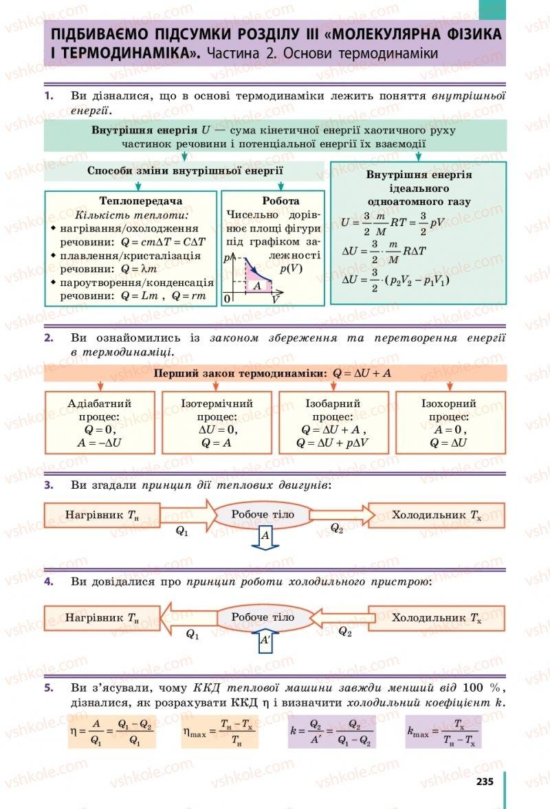 Страница 235 | Учебник Фізика 10 класс В. Г. Бар'яхтар, С. О. Довгий, Ф. Я. Божинова 2018 Рівень стандарту